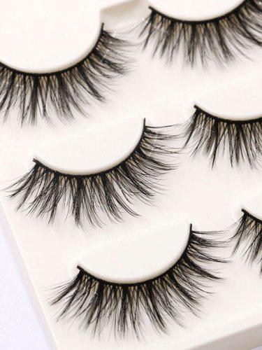 3 Pairs Handmade Artificial Eyelashes Lash Extensions Natural Set for Dry Natural Looking Lengthening
