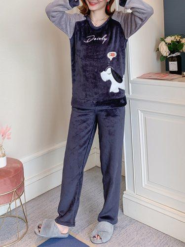 Women's 2Pcs Pajamas Set Words Top Flannel Solid Color Bottoms Long Sleeve Crew Neck Sweet