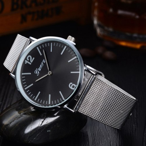 Men's Quartz Watch Fashion Round Dial Simple Alloy Mineral Crysta Glass Stainless Steel Casual