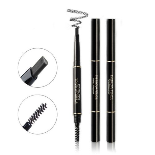 Double-headed Eyebrow Pencil Rotary Waterproof Multi-purpose Brow refill length 25MM Eyebrow pencil is triangular face-cut Color natural Volumizing