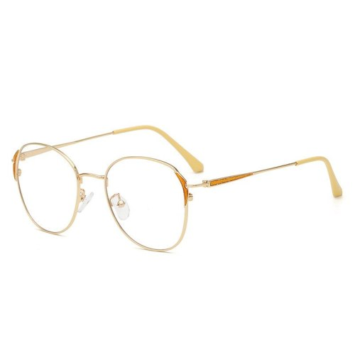 Men's Eyeglasses Metal Frame Vintage Style Plain Glasses Rimless Rivet Protective Glasses Solid Color Cycling Accessory