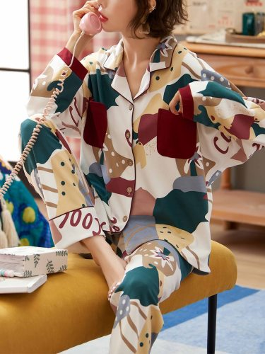 Women's Pajamas Set Printed Color Block Pants Homewear Casual Loose Others Long Sleeve