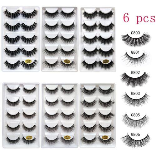 6Pcs Extreme Volume Artificial Eyelashes Thick & Curl Lash Extensions Big Eyes Curling 5pairs set* 6pcs Dry