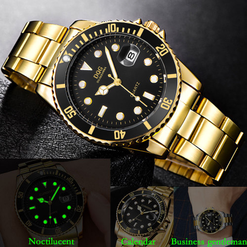 Men's Quartz Watch Fashion Steel Strap Glow In Dark Simple Stainless Steel Big Dial Calendar Glass Casual Geometric