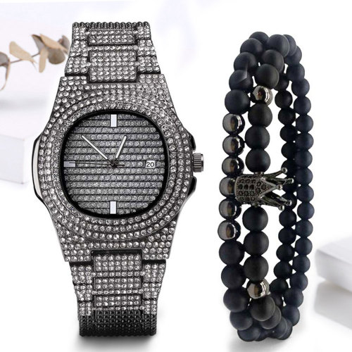 3 Pieces Men's Quartz Watch & Bracelets Set Fashion Simple Solid Color Glass Other Rhinestone 30M Waterproof Stainless Steel Sexy