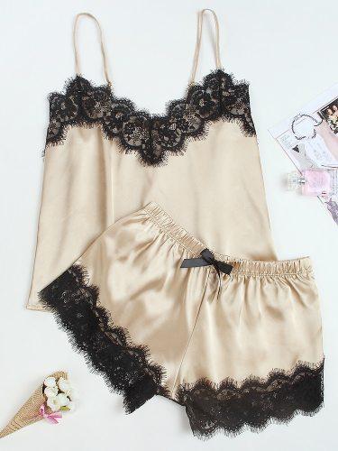 Women's Pajamas Set Silk-like Fabric Lace Casual Home Shorts Sleeveless V Neck Top Fashion