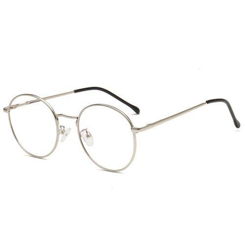 Men's Eyeglasses Light Weight Round Metal Frame Plain Glasses Rivet Sports Wayfarer Solid Color Sweet Protective Glasses Accessory