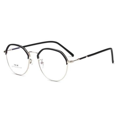 Men's Eyeglasses Ultra-light Half Plain Glasses Rivet Accessory Solid Color Frame Sports Oversized