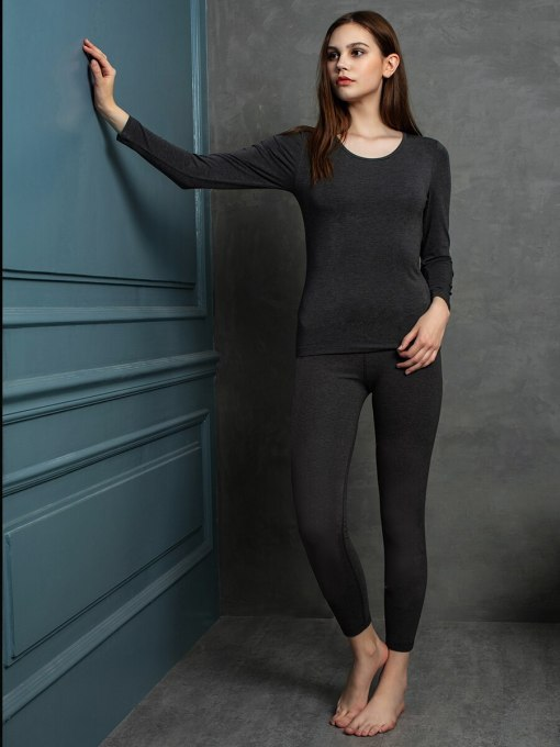 Women's Thermal Set Pants Basic Thermal Thin Long Sleeve Minimalist Crew Neck