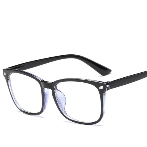 Men's Eyeglasses Light Weight Square Plain Glasses Oversized Rivet Frame Solid Color Accessory Cycling