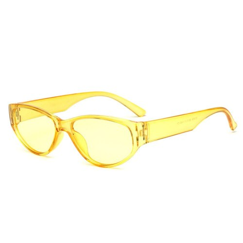Men's Retro UV Protection Small Frame Rivet Accessory Sports Cat Eye Top Fashion Solid Color Sunglasses