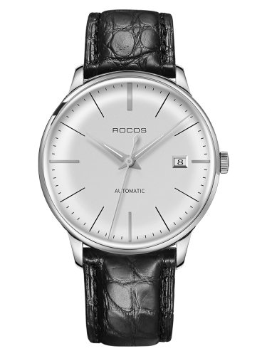ROCOS Men's Watch Round Dial Brief Style Faddish Mechanical Genuine Leather Other Mineral Glass Big Dial 30M Waterproof