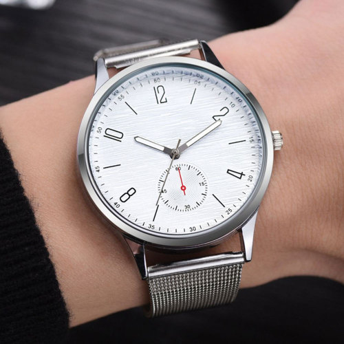 Men's Quartz Watch Fashion Mesh Strap Simple 30M Waterproof Big Dial Geometric Stainless Steel Glass Alloy OL