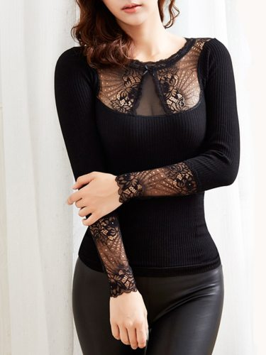 Women's Thermal Underwear Solid Color Lace Patchwork Slim Average size: suggest 155-175cm weight of 100-130 jin Sexy Long Sleeve Thicken Crew Neck