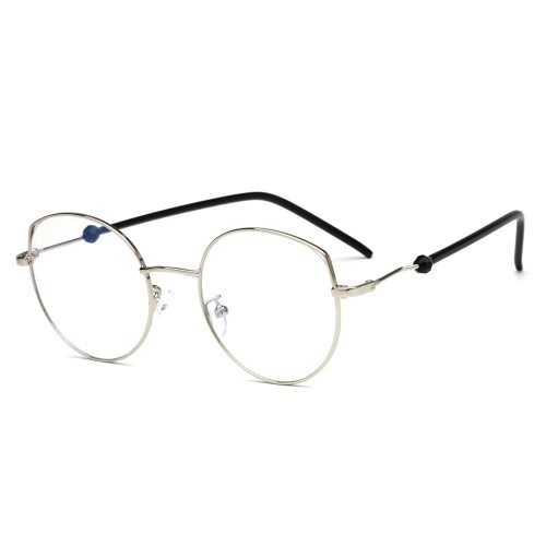 Men's Chic Metal Frame Plain Glasses Solid Color Eyeglasses Accessory Rivet Sports Rimless