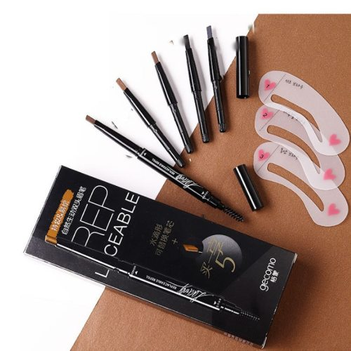 Eyebrow Pencil Double Head Rotating Waterproof Eyebrow Pencil with 4 Matte Others