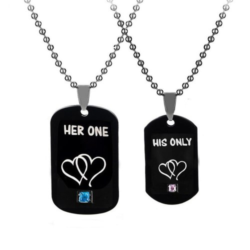 1Pair Couple Necklace Letters Heart Inlay Pendant Causal Fashion Accessories