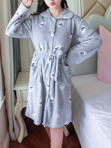 Women's Sleep Robe Flannel Cute Cartoon Home Long Sleeve Sweet
