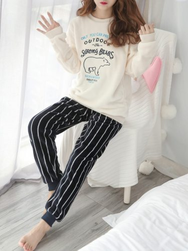 Women's Flannel Animal Letter Top Striped Long Pants Home Crew Neck Casual Long Sleeve