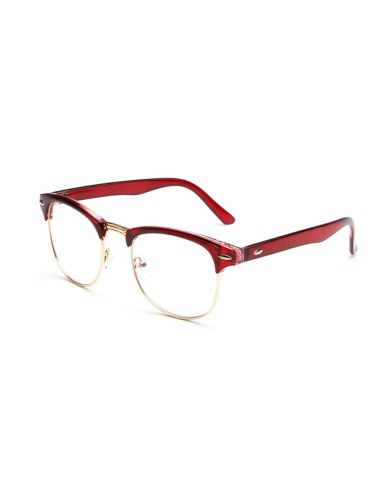 Men's Frame Retro Trendy Solid Color Semi- rimless Spectacle Accessory Sports Eyeglasses Round Circle