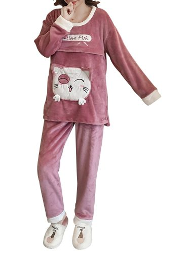 Women's Pajamas Set Thicken Flannel Maternity Home Pants Long Sleeve Loose Sweet Crew Neck