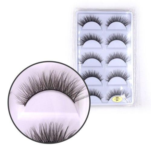 5 Pairs 3D Artificial Eyelashes Waterproof Mink Imitation Eyelashes Makeup