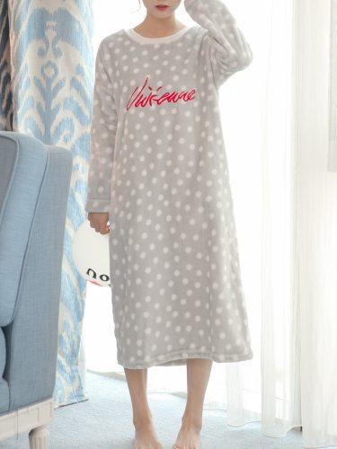 Women's Sleep Dress Flannel Polka Dot Long Sleeve Home Young Women Casual Midi Crew Neck
