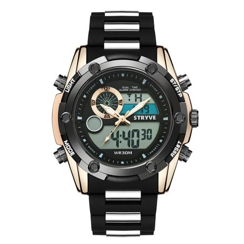 Men's Electronic Watch Waterproof Fashion Multi-Function Metal Decoration Scratch Resistant Geometric Stainless Steel Face Movement Dial Case Band