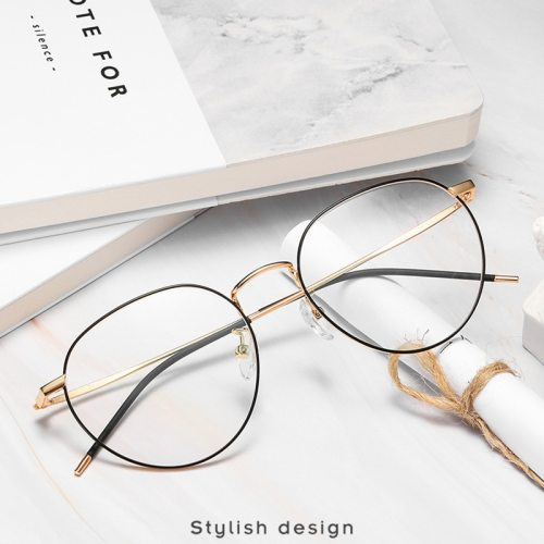 Men's Eyeglasses Light Weight Round Metal Frame Plain Glasses Oversized Top Fashion Solid Color Protective Glasses Metal Decoration Accessory