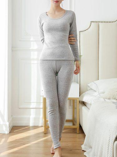 Women's Thermal Set Fleece en Pants Basic Thermal Sweet Thick Long Sleeve Crew Neck