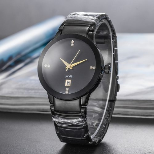 Men's Quartz Watch Fashion Strap Rhinestone Personality Big Dial Scratch Resistant Casual Stainless Steel Solid Color Calendar
