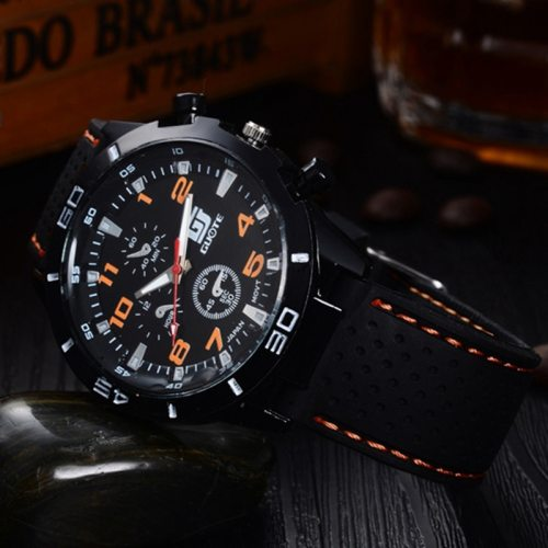 Men's Quartz Watch Fashion Simple Casual Silica Gel Big Dial Alloy Mineral Glass Mineral Crysta Glass