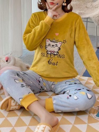 Women's Pajamas Set Flannel Pants Cute Cartoon Comfy Home Long Sleeve Sweet Crew Neck