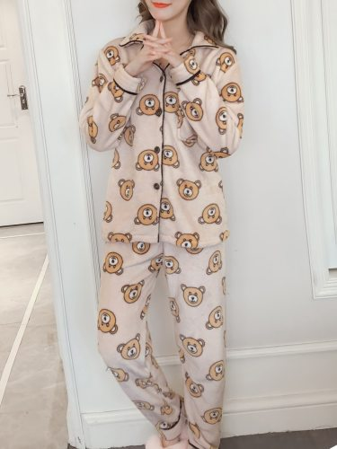 Women's Pajamas Set Turn Down Collar Animal Pattern Loose Flannel Home Others Casual Long Sleeve