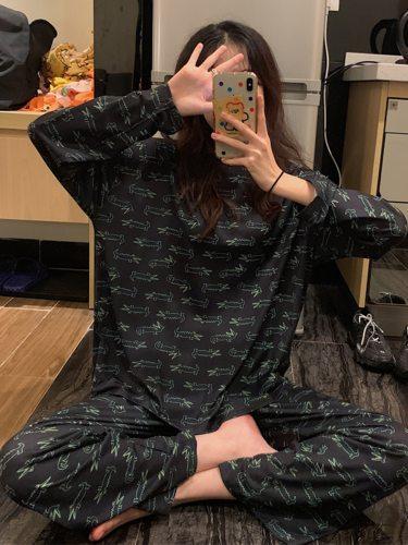 Women's Pajamas Set Pants Homewear Casual Crew Neck Long Sleeve