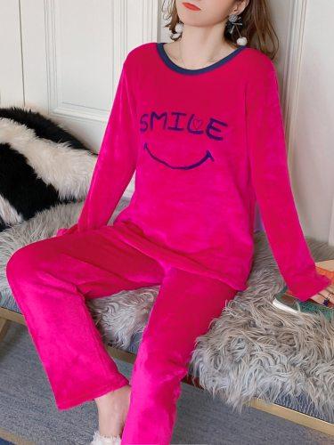 Women's Pajamas Set Flannel Pants Cozy Home Long Sleeve Casual Crew Neck