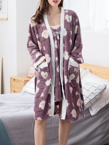 Women's 2Pcs Sleepwear Set Slip Dress Sleep Robe Flannel Cute Cartoon Comfy Home Casual Sleeveless