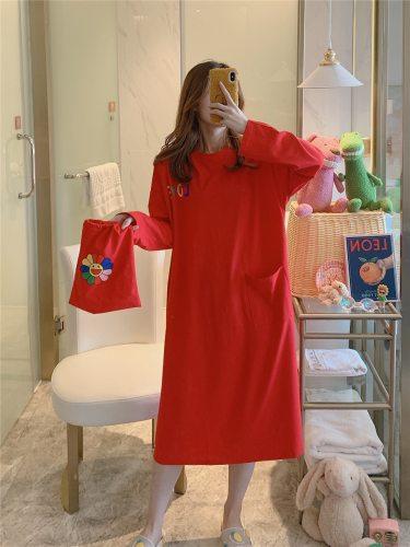 Women's Nightdress Cute Comfy Long Sleeve Crew Neck Young Women Loose Minimalist Midi