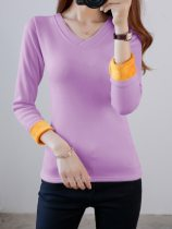 Women's Thermal Top Plus Size Fleece Thicken Warm V Neck Long Sleeve Medium Minimalist