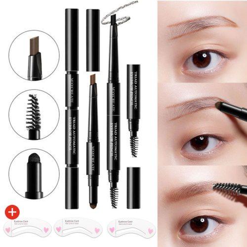 3in1 Eyebrow Pencil Easy Colored Waterproof Sweat Resistant Brow Wet Color Correcting