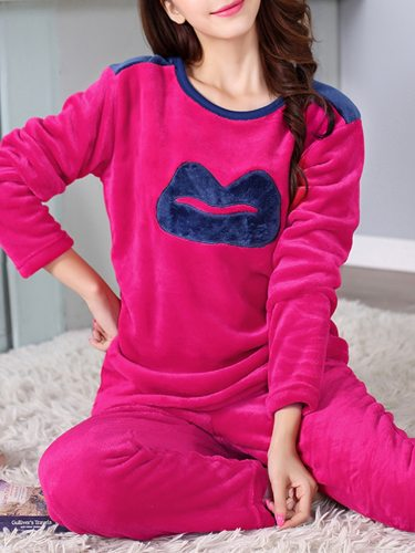 Women's 2Pcs Pajamas Set Flannel Warm Home Pants Crew Neck Long Sleeve Casual
