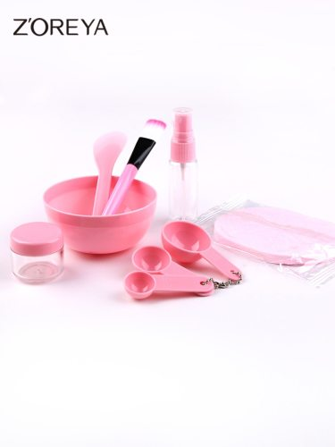 9 Pieces ZOREYA Skin Care Tools Set Solid Color DIY Mask Skin Care Including:Mask bowlMask brushBubble bottleMask stickSpoon * 3Spray bottleSponge