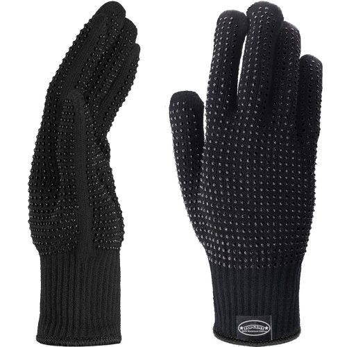 1 pair Heat Resistant Gloves Silicone Non-slip Gloves for Hair Styling Curling Iron, Fit All Hand and there are 2 pieces