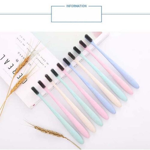 10 Pieces Toothbrushes Sets Environment Adult Portable Toothbrushes Oral Cleansing Straw material + soft woolQuantity 10 pieces