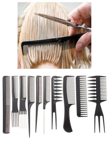 10Pcs Hair Combs Set Black Hair Cutting Portable Hair Styling Length: 17-23cmWidth: 25-7cm Smooth