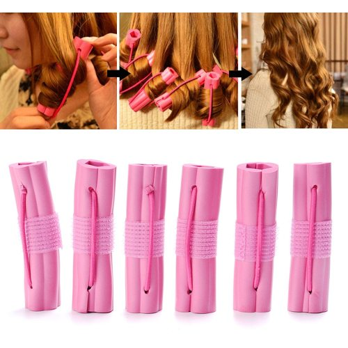 6 Pieces Womne's Hair Rollers Magic Sponge Foam Cushion Hair Curlers Twist Accessories Hair Styling curling all day Wavying