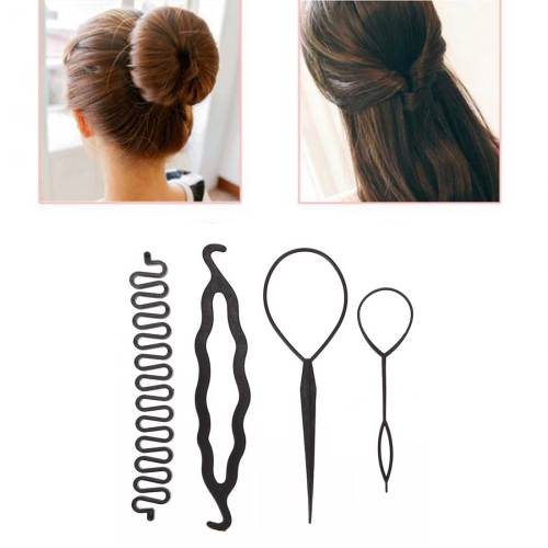 4pcs/set Magic Hair Braiding Twist Curler Set Hairpin ing Braiders Pull Hair Ponytail DIY Tool Styling Tool Hold protect your hair Easy and to carry