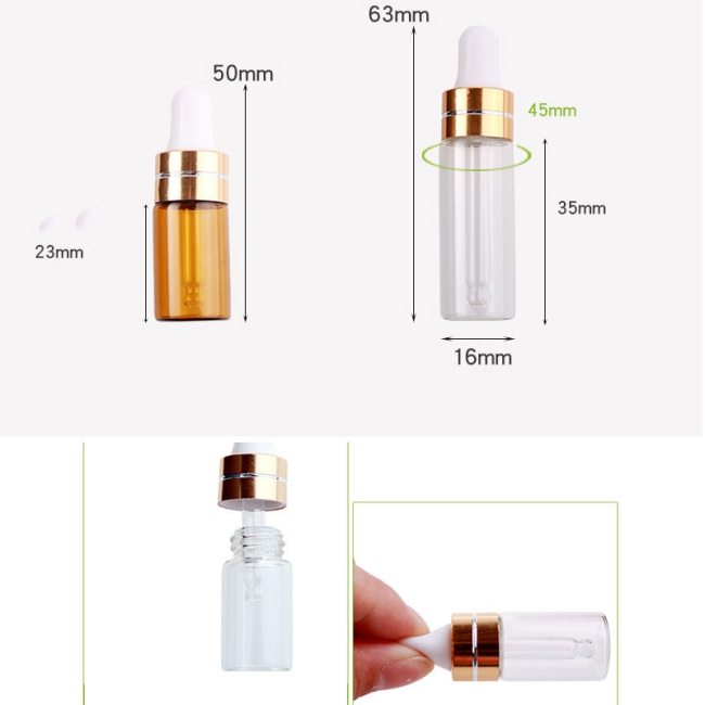 4 Pieces Glass Eye Dropper Bottles Traveling Essential Oils Perfume Massage Capacity: 3ml