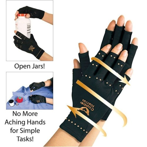 Compression Gloves Sports Care Half Finger Recovery Gloves Health Product name: health glovesColor: blackWeight: 35 g Arms Shaping
