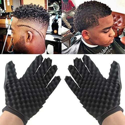 Curling Mold Curly Hair Gloves Wave Barber Hair Brush Sponge Gloves Black Twist Wave Curling Styling Hairdressing Features:1 TIME-SAVING REDUCES to